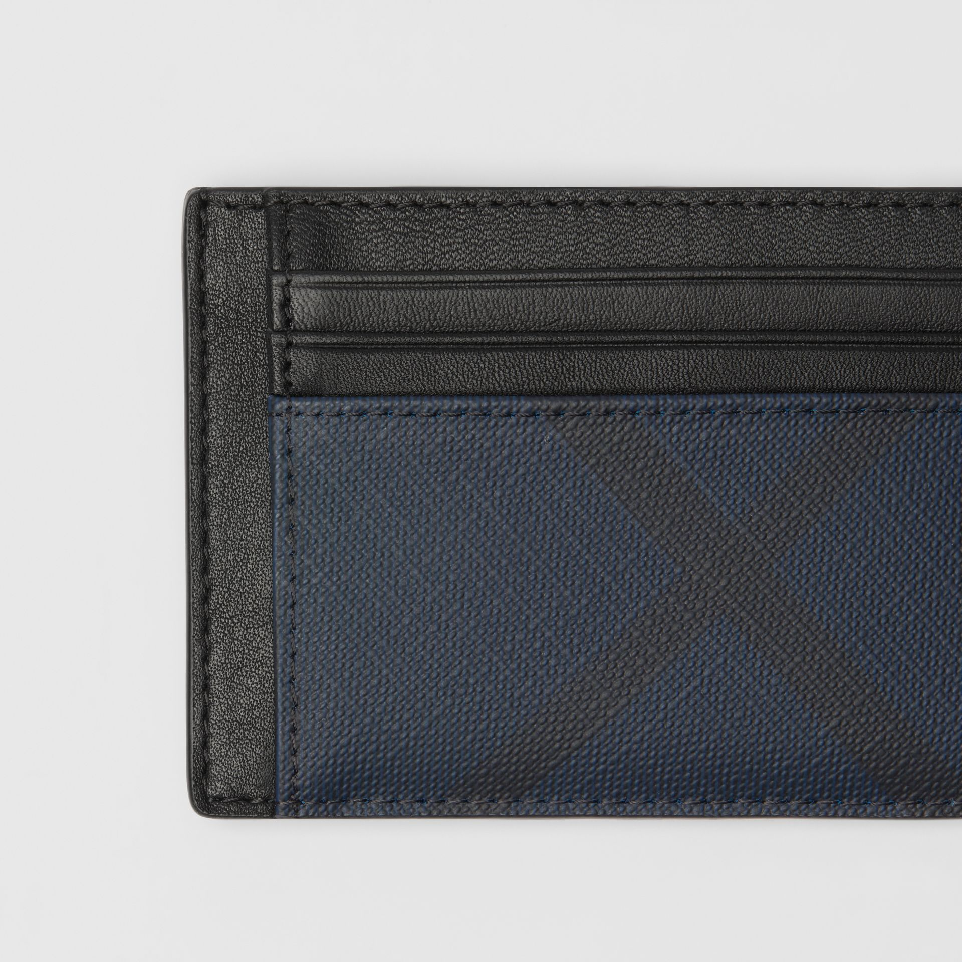 London Check and Leather Money Clip Card Case in Navy/black - Men | Burberry - gallery image 1
