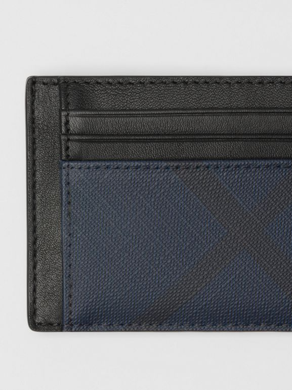 London Check and Leather Money Clip Card Case in Navy/black - Men | Burberry - cell image 1