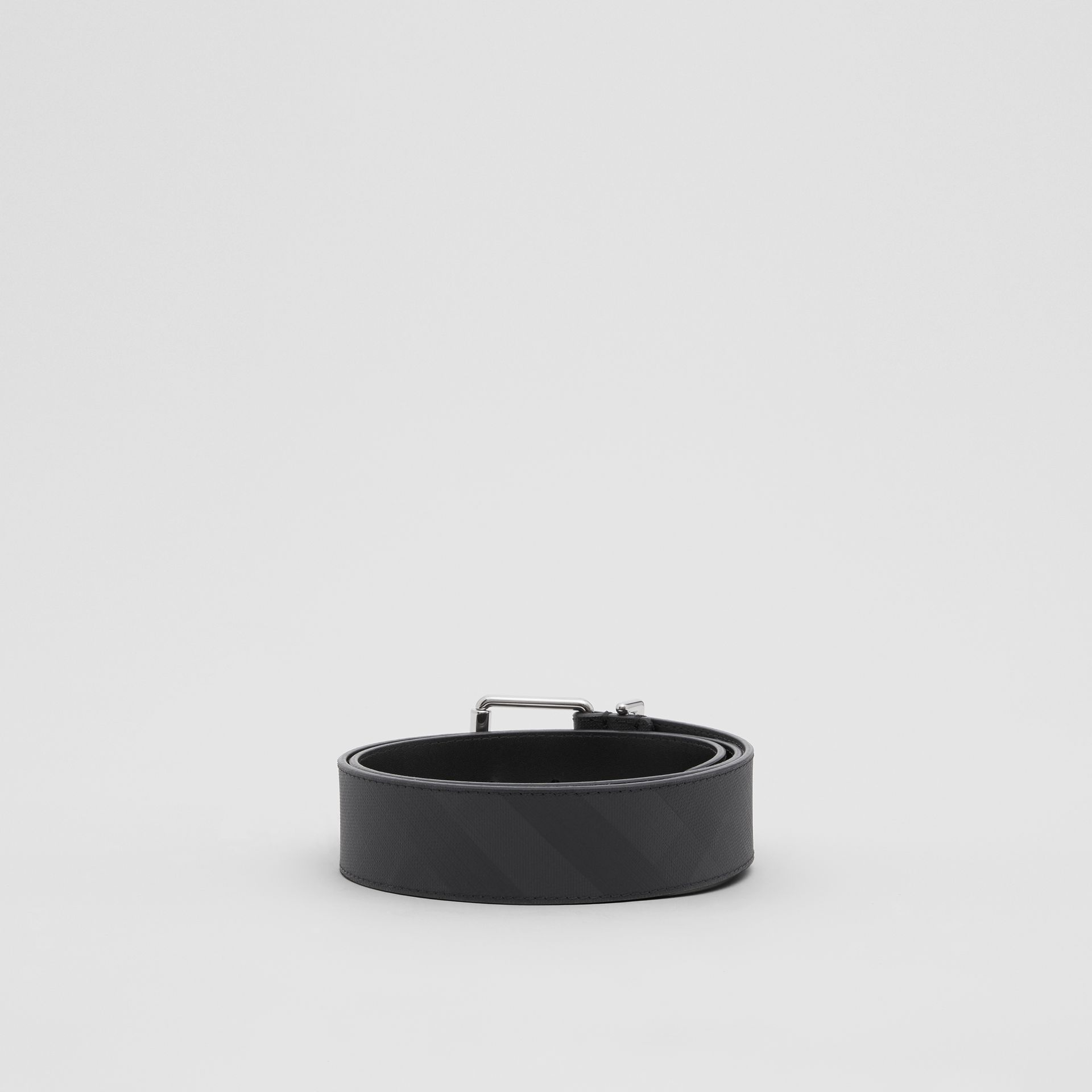 London Check and Leather Belt in Dark Charcoal - Men | Burberry United Kingdom - gallery image 3
