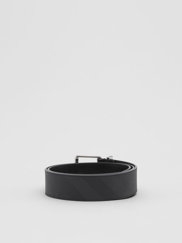 London Check and Leather Belt in Dark Charcoal - Men | Burberry - cell image 3