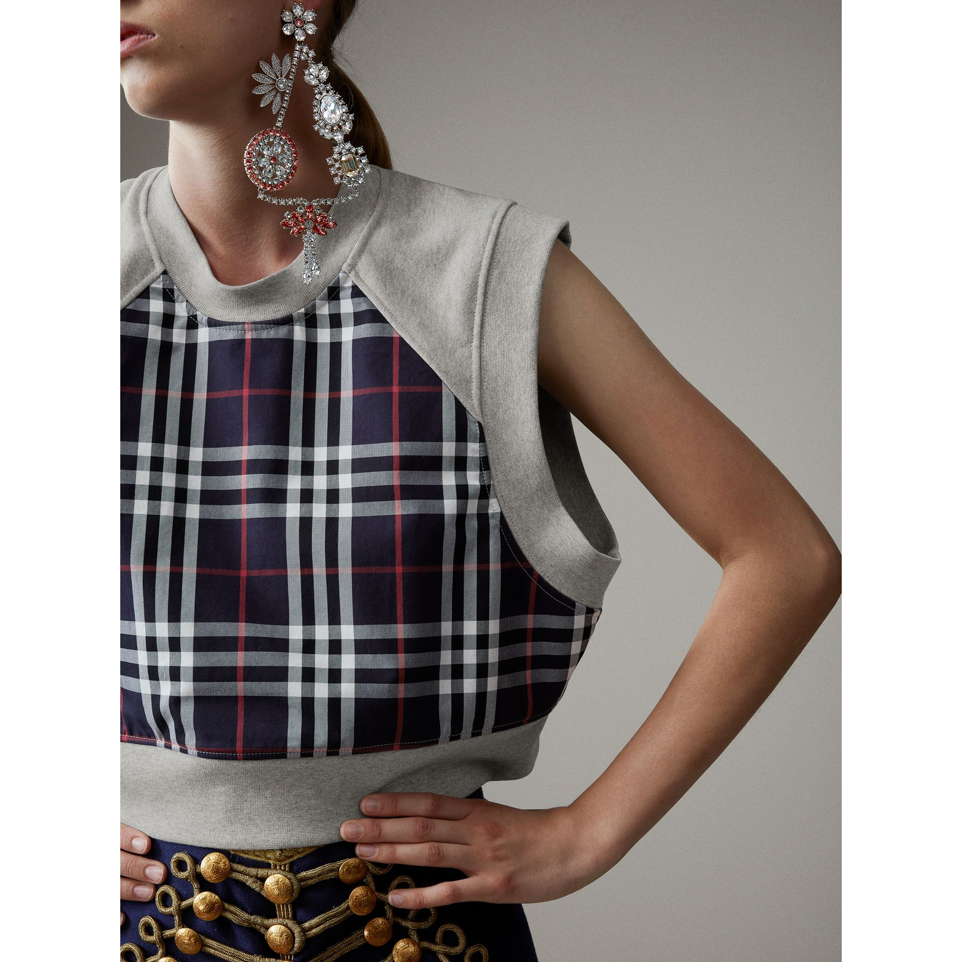 Tartan Panel Sleeveless Jersey Sweatshirt in Light Grey Melange - Women | Burberry - gallery image 1
