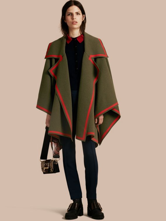 Wool Cashmere Blend Poncho Military Green/peony Red