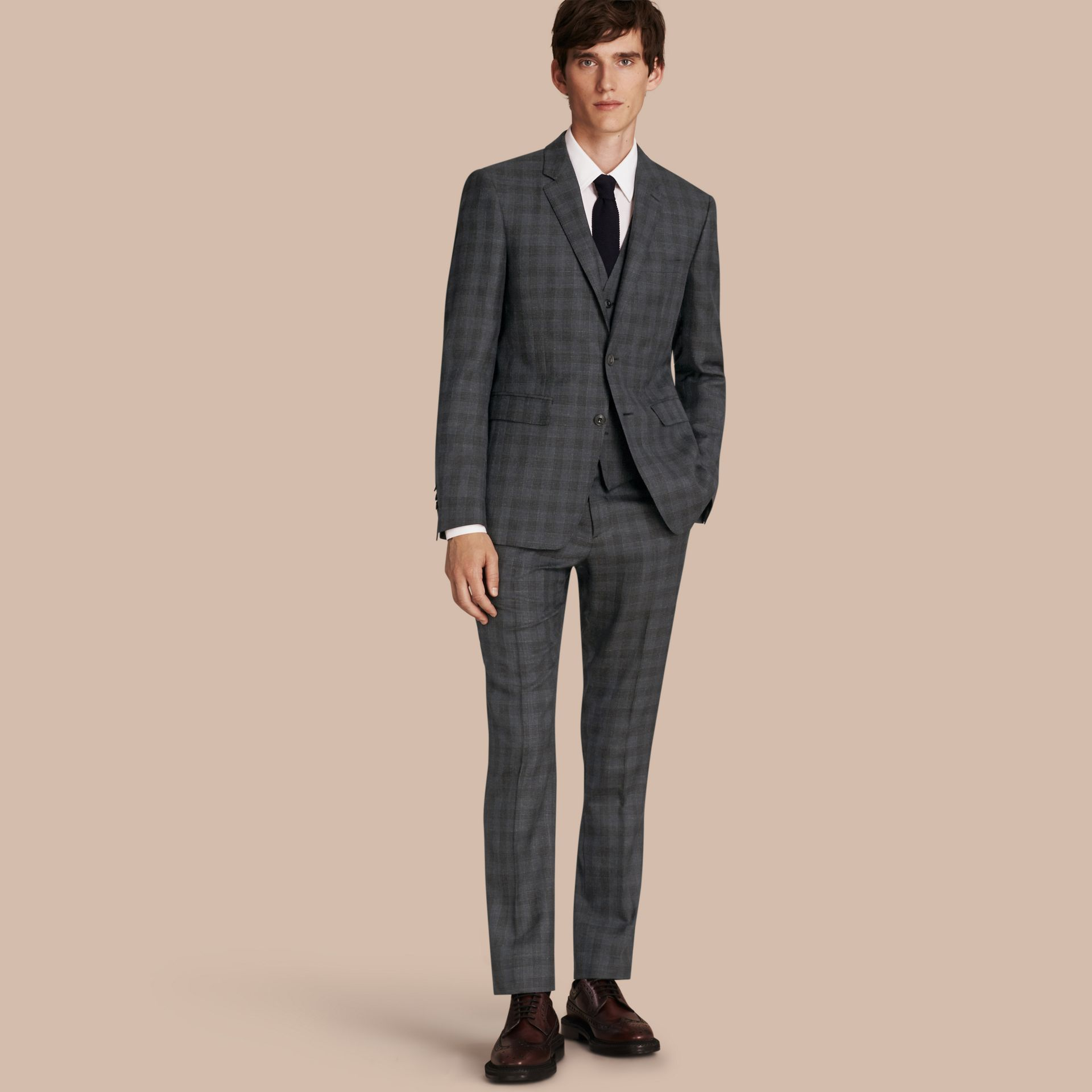 Charcoal Slim Fit Wool Silk Linen Three-piece Part-canvas Suit - gallery image 1