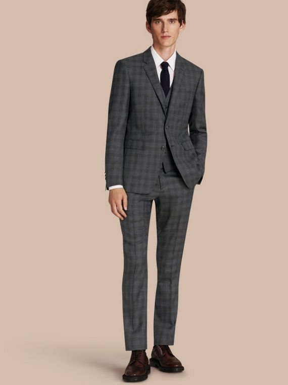 Slim Fit Wool Silk Linen Three-piece Part-canvas Suit