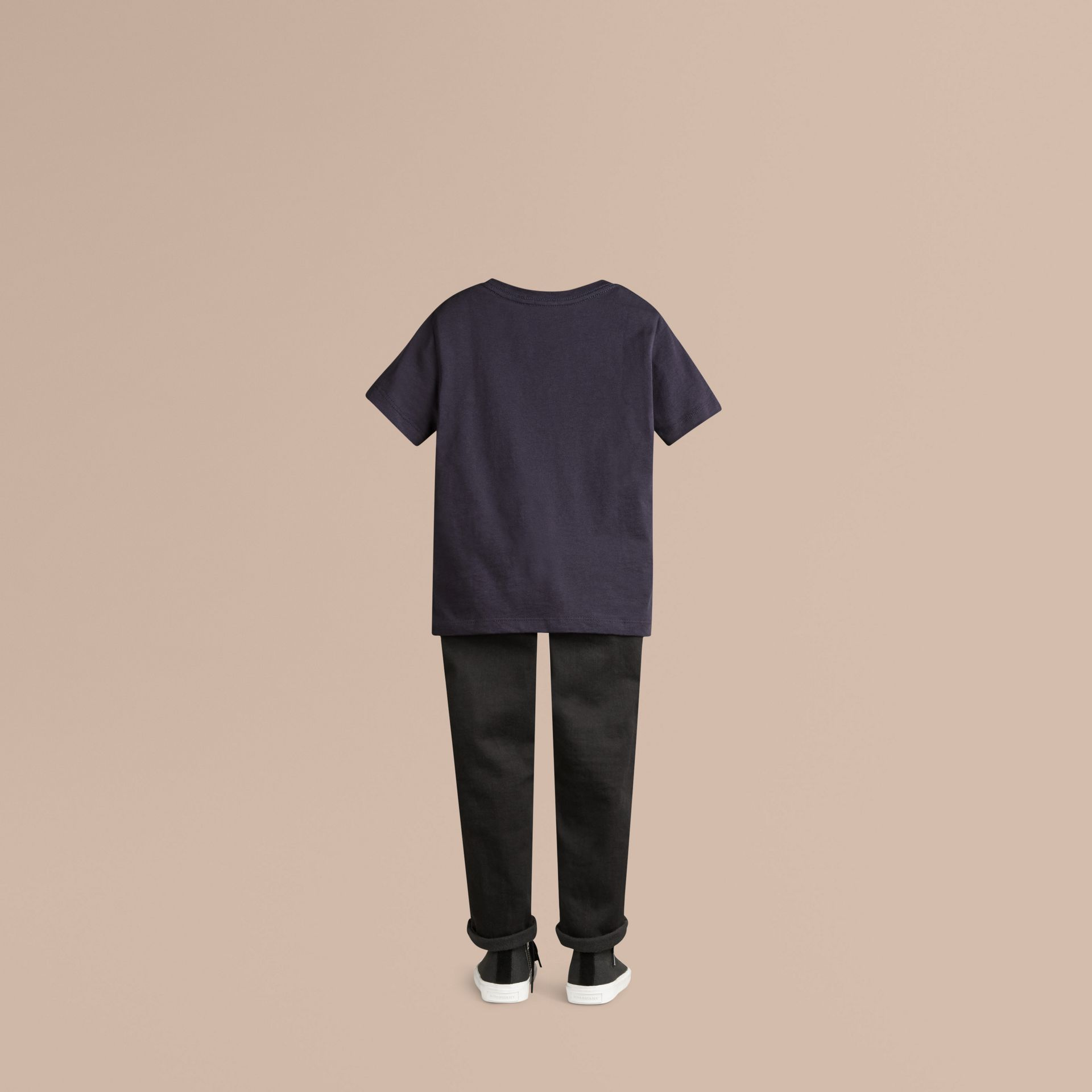 Check Pocket Cotton T-shirt in True Navy - gallery image 3