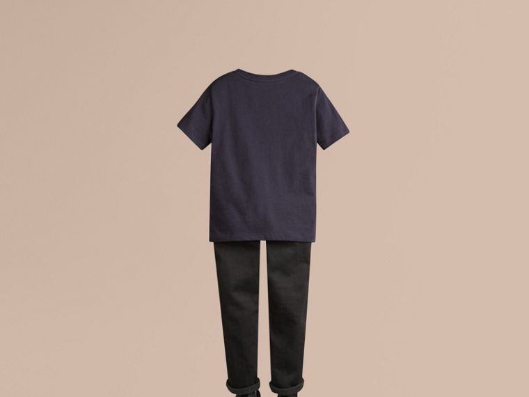 Check Pocket Cotton T-shirt in True Navy - cell image 2