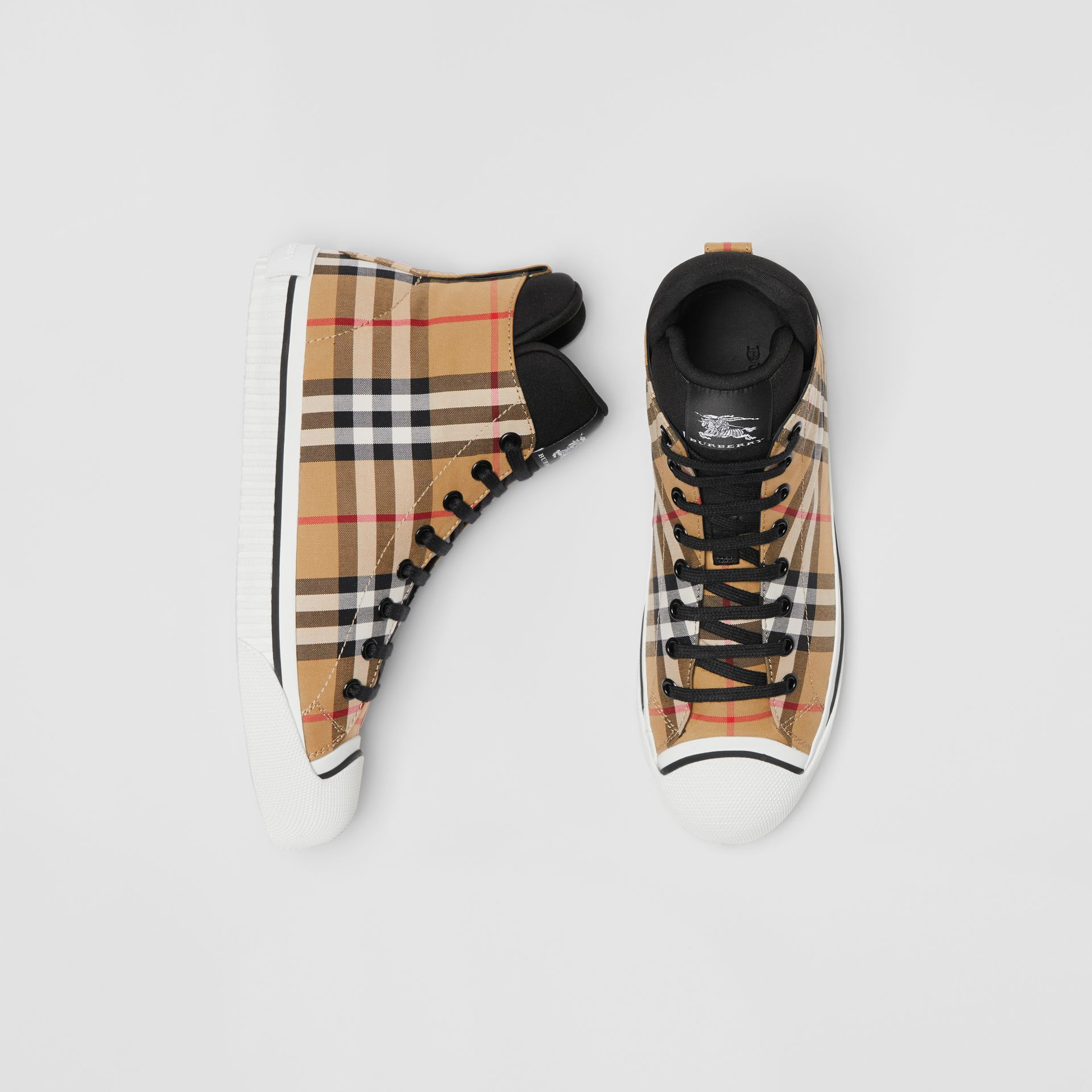 Vintage Check and Neoprene High-top Sneakers in Antique Yellow - Women | Burberry - gallery image 0