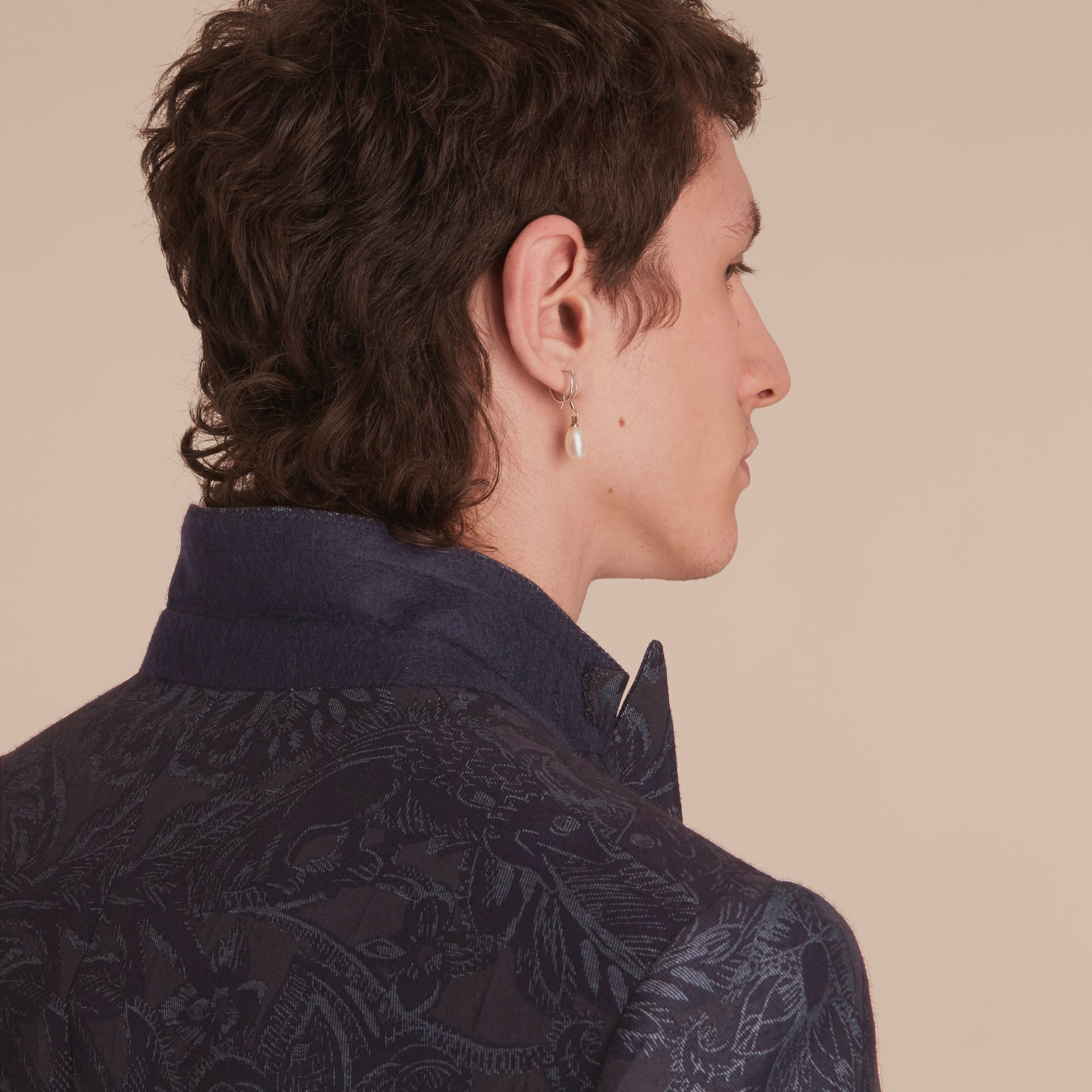 Slim Fit Beasts Fil Coupé Wool Silk Tailored Jacket in Stone Blue - Men | Burberry Hong Kong - gallery image 7