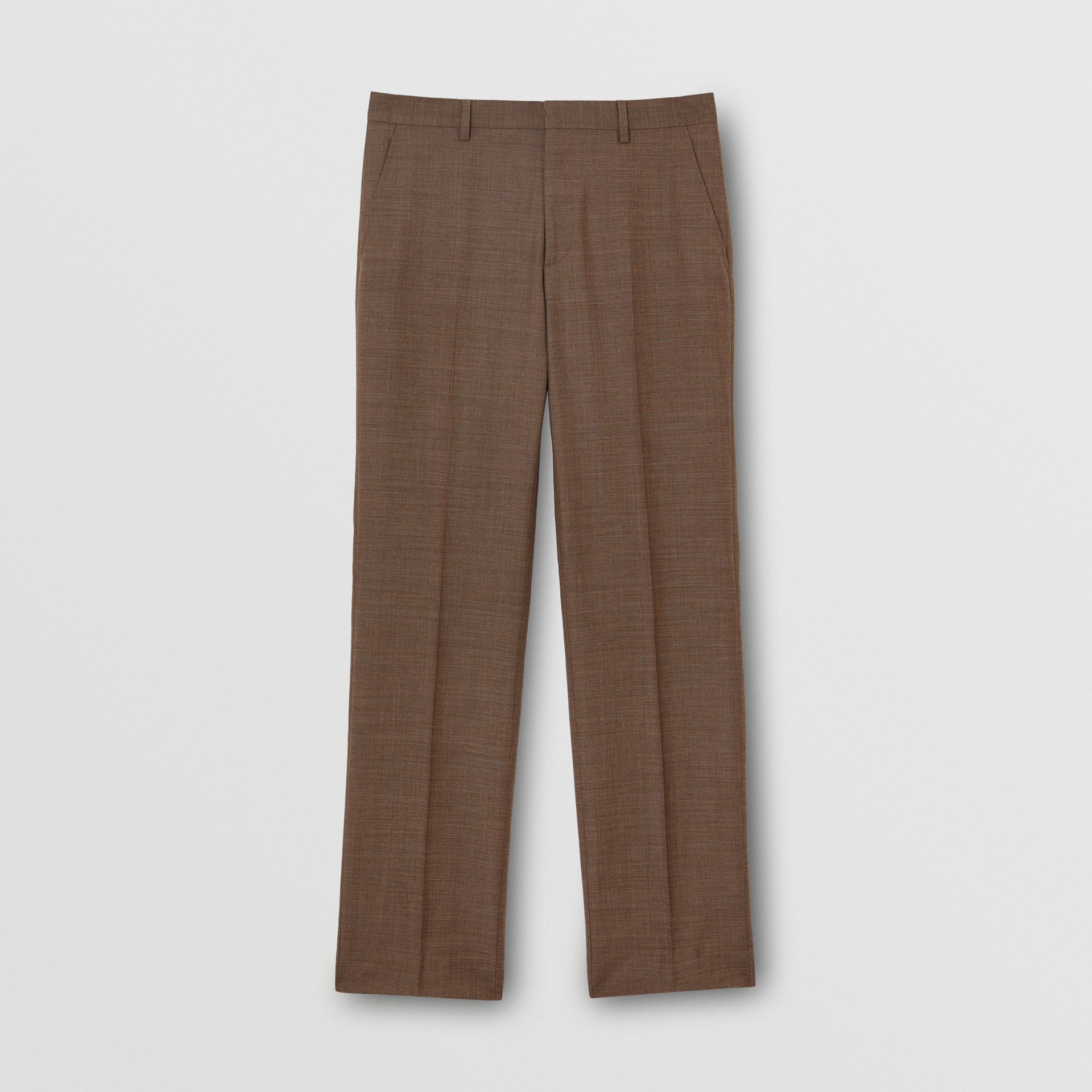 Sharkskin Wool Tailored Trousers in Deep Brown - Men | Burberry - gallery image 3