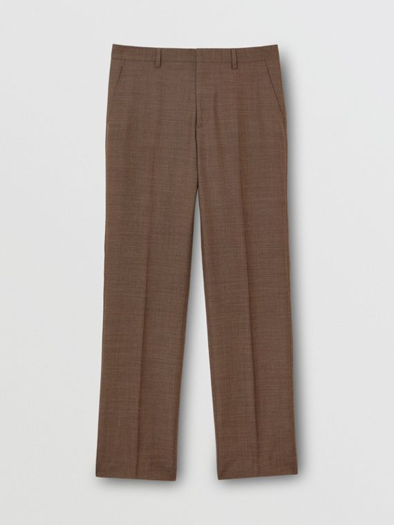 Sharkskin Wool Tailored Trousers in Deep Brown