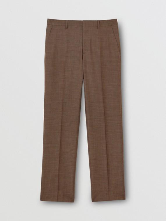 Elegante Hose aus Sharkskin-Wolle (Tiefbraun)