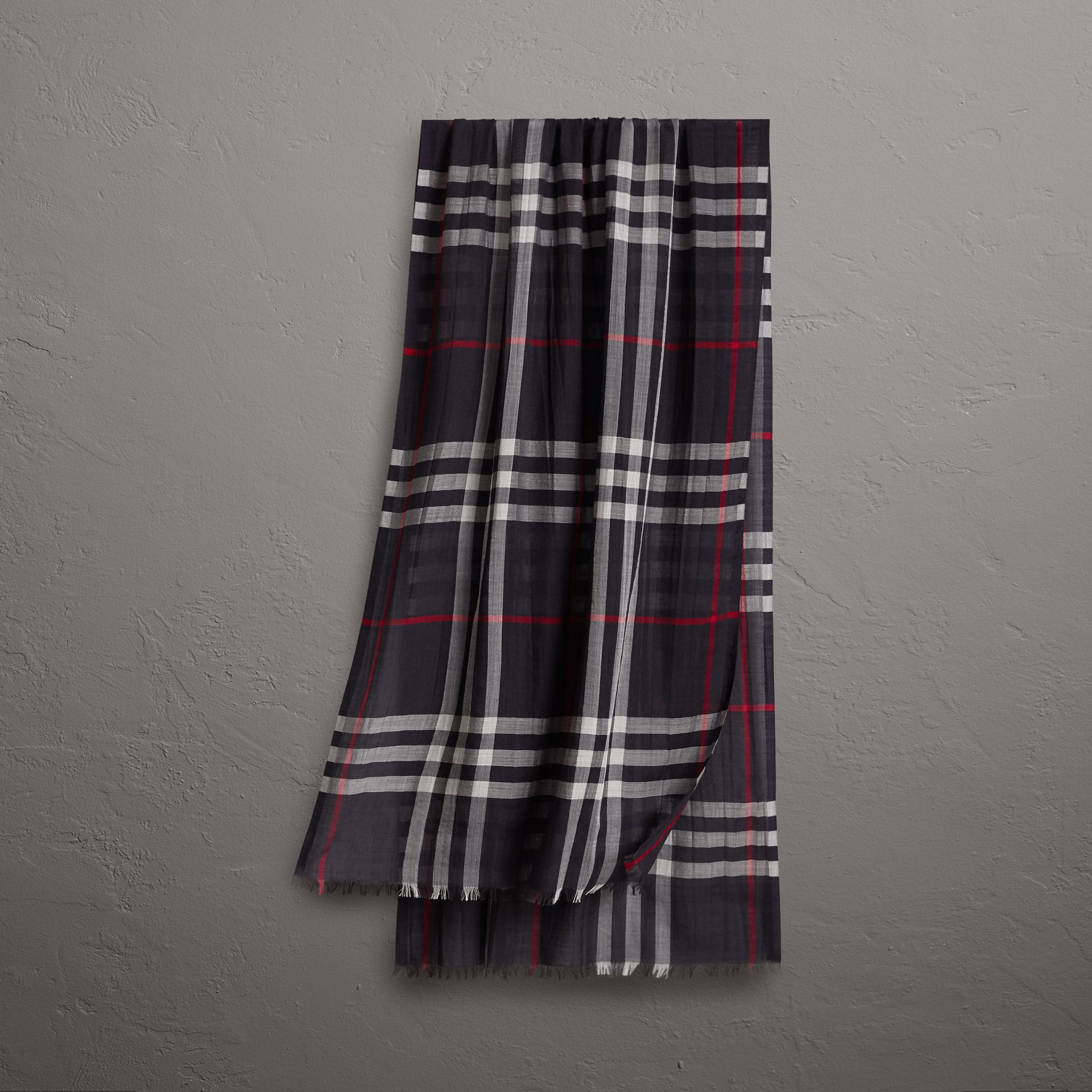 Lightweight Check Wool and Silk Scarf in Navy | Burberry United Kingdom - gallery image 0