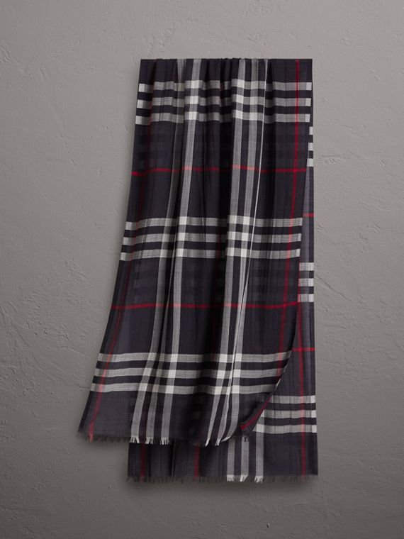 Lightweight Check Wool and Silk Scarf in Navy