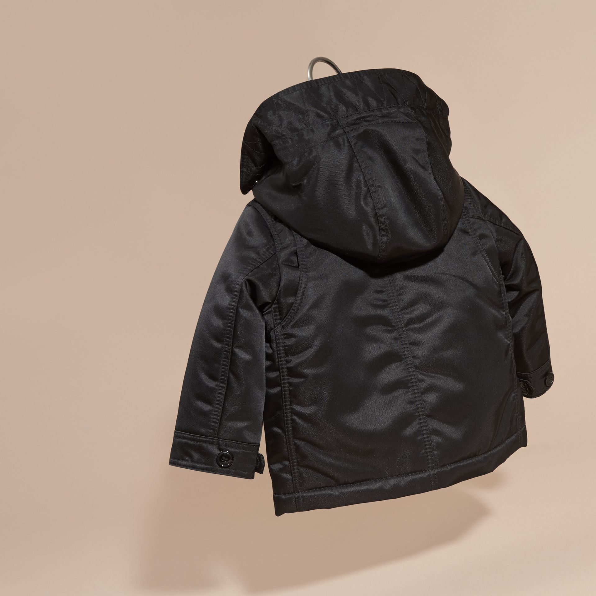 Black Hooded Technical Parka - gallery image 4