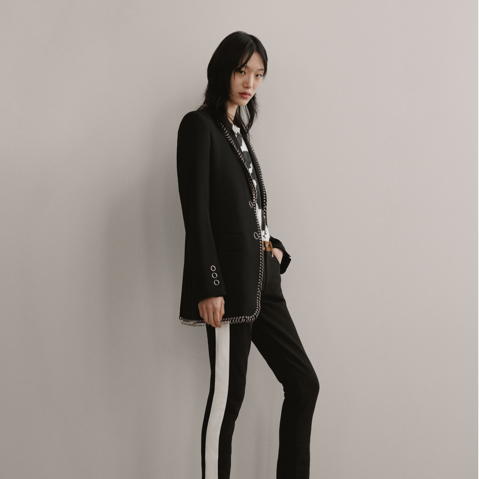 Straight Fit Deer Print Trim Japanese Denim Jeans in Black - Women | Burberry Hong Kong - gallery image 1