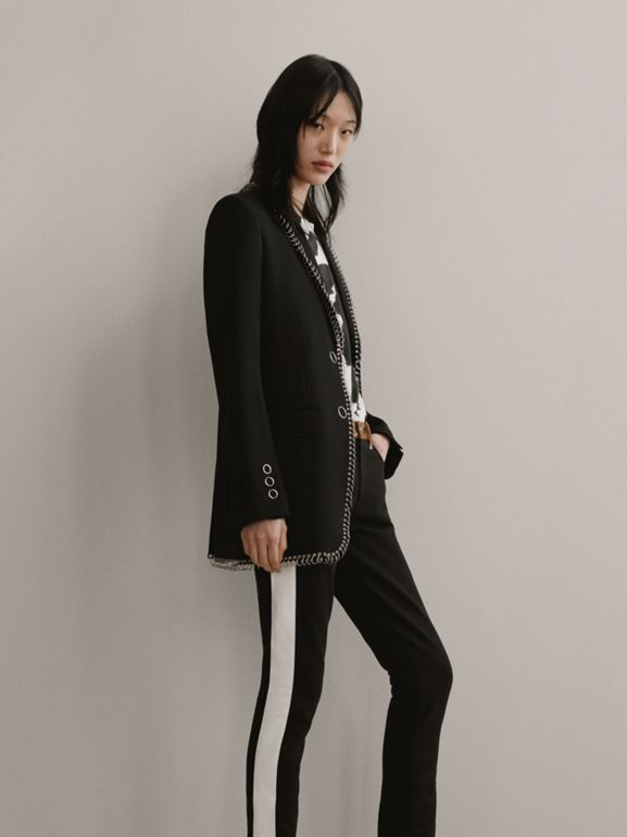Straight Fit Deer Print Trim Japanese Denim Jeans in Black - Women | Burberry Hong Kong - cell image 1