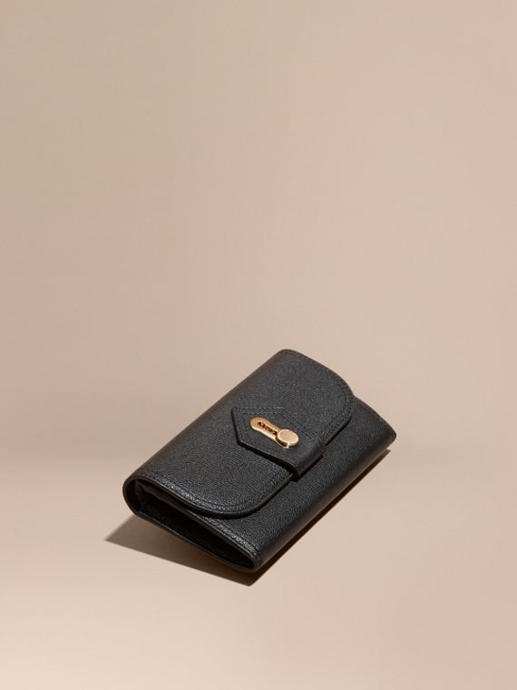 Textured Leather Continental Wallet Black