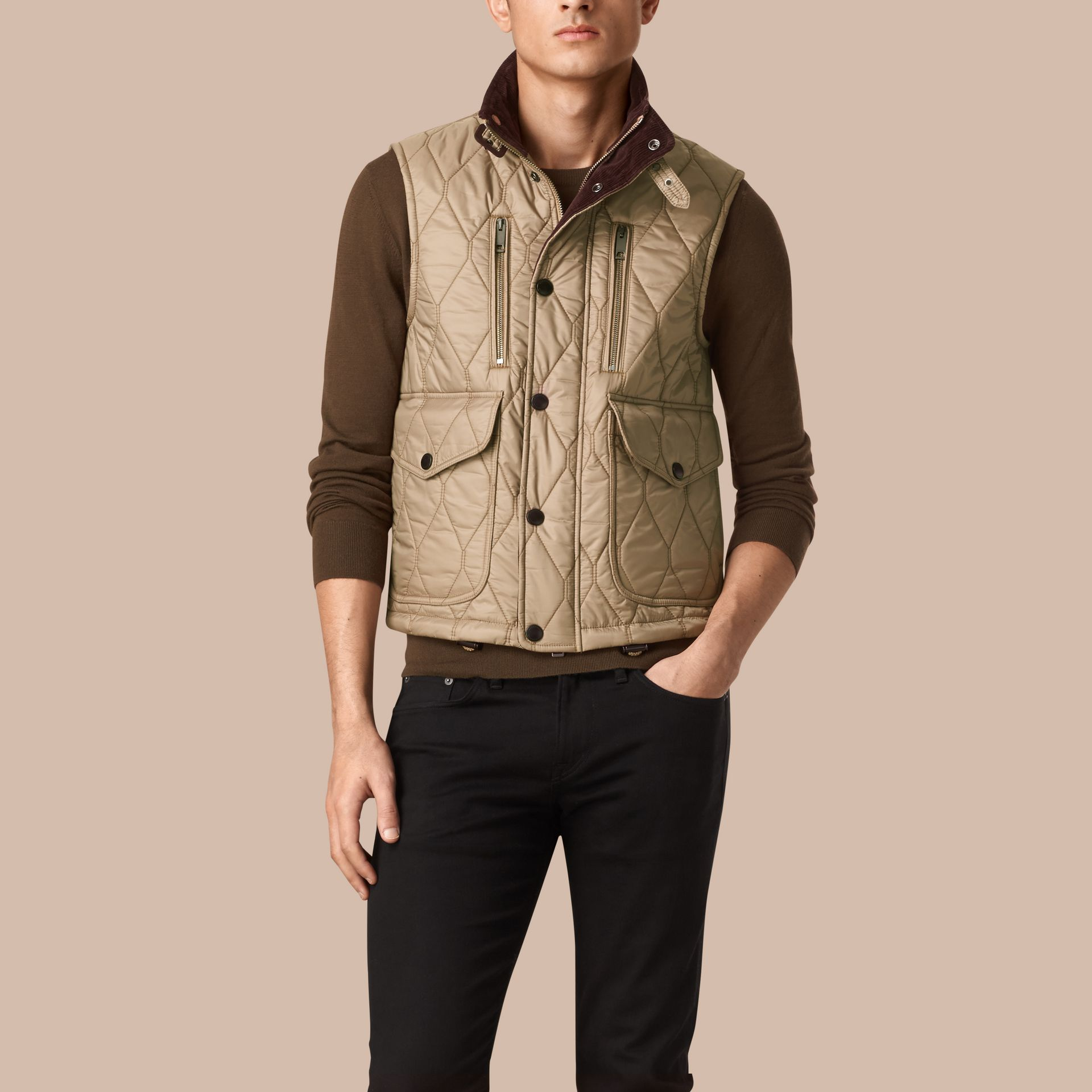 Honey Multi-Pocket Diamond Quilted Gilet Honey - gallery image 1