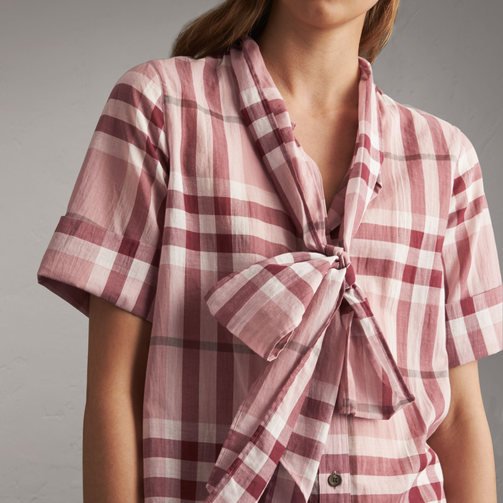 Short-sleeve Check Cotton Tie Neck Shirt in Antique Pink - Women | Burberry - gallery image 5