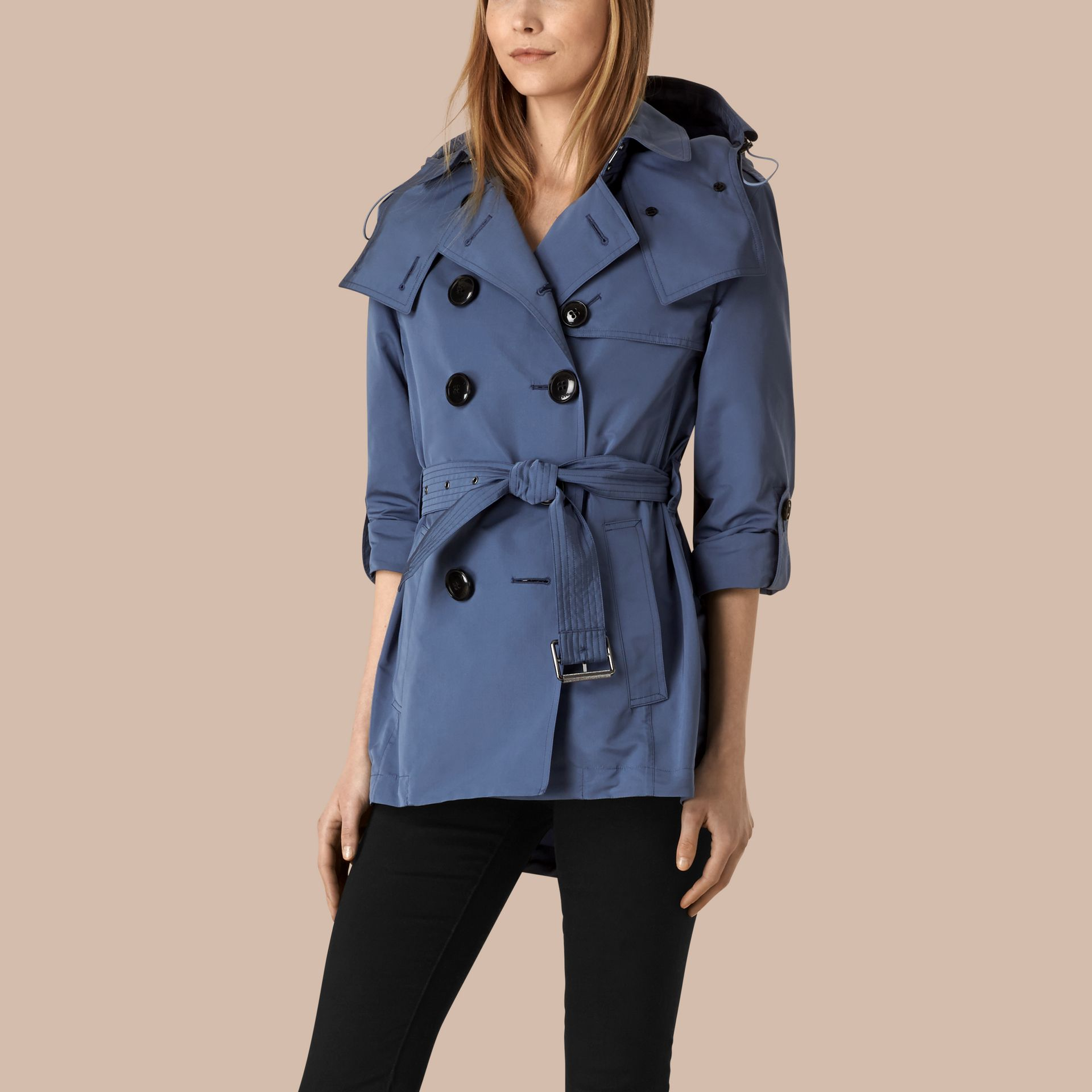 Pale lupin blue Showerproof Trench Coat with Detachable Hood Pale Lupin Blue - gallery image 3