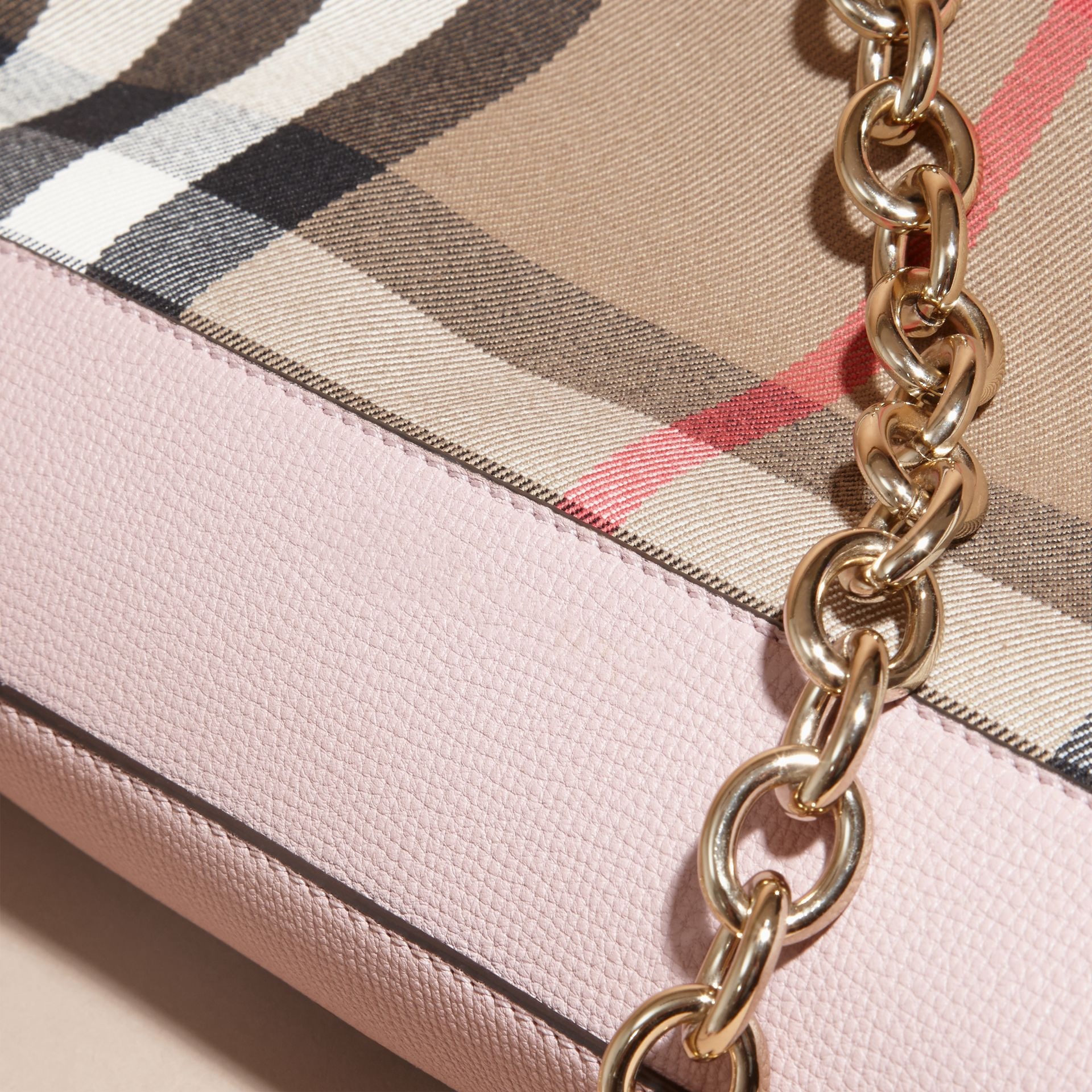 House Check and Leather Clutch Bag in Pale Orchid - Women | Burberry - gallery image 7