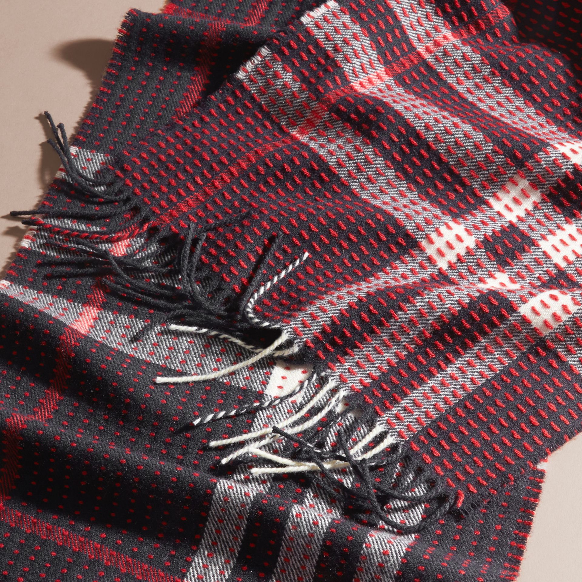 Navy check The Classic Cashmere Scarf in Check with Topstitch Detail Navy - gallery image 5