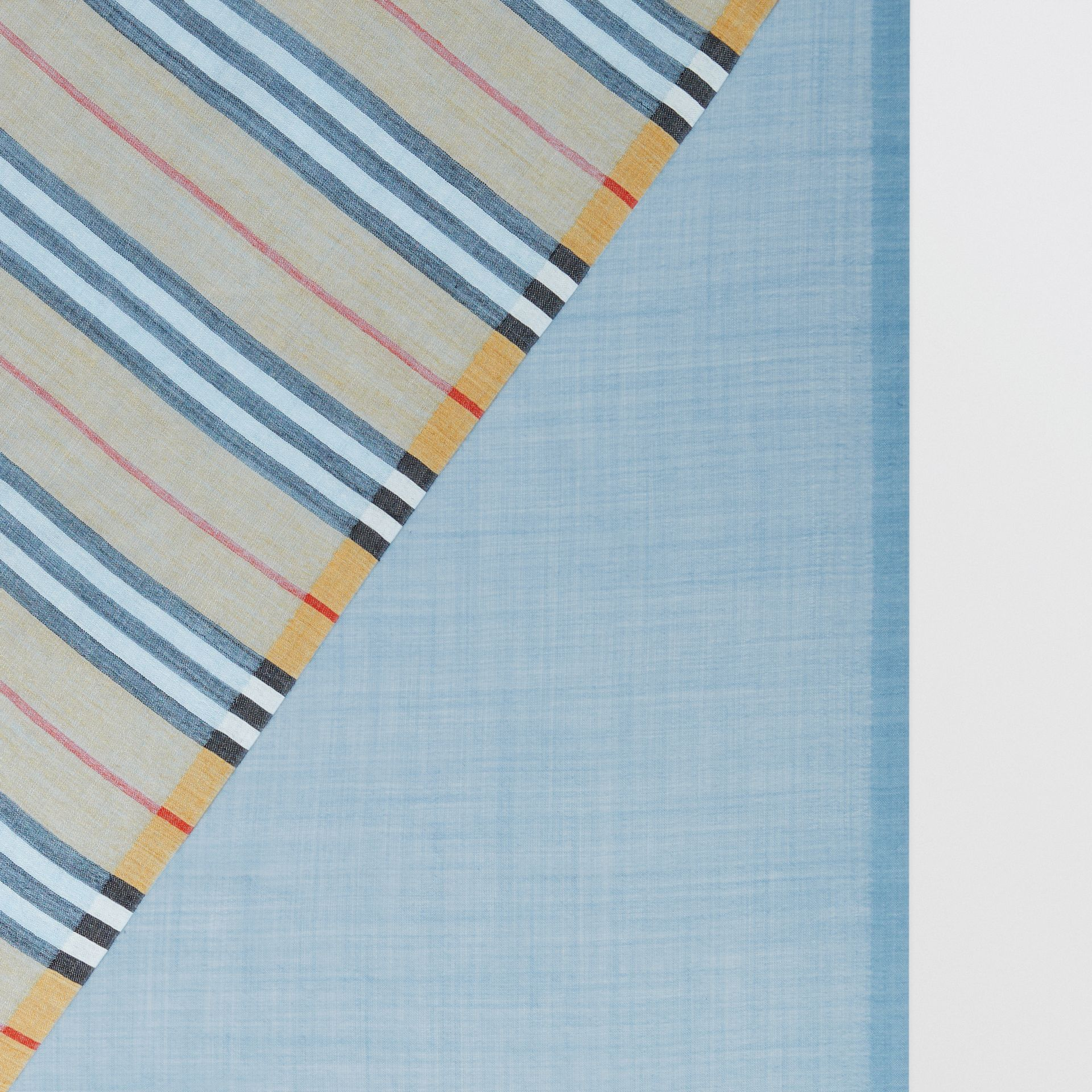 Vintage Check and Colour Block Wool Silk Scarf in Pale Blue Carbon | Burberry United Kingdom - gallery image 1