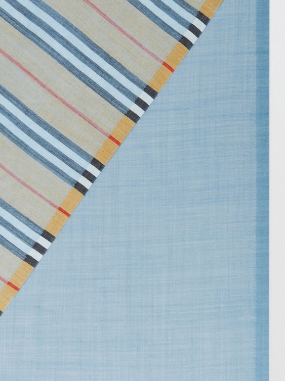 Vintage Check and Colour Block Wool Silk Scarf in Pale Blue Carbon | Burberry United Kingdom - cell image 1