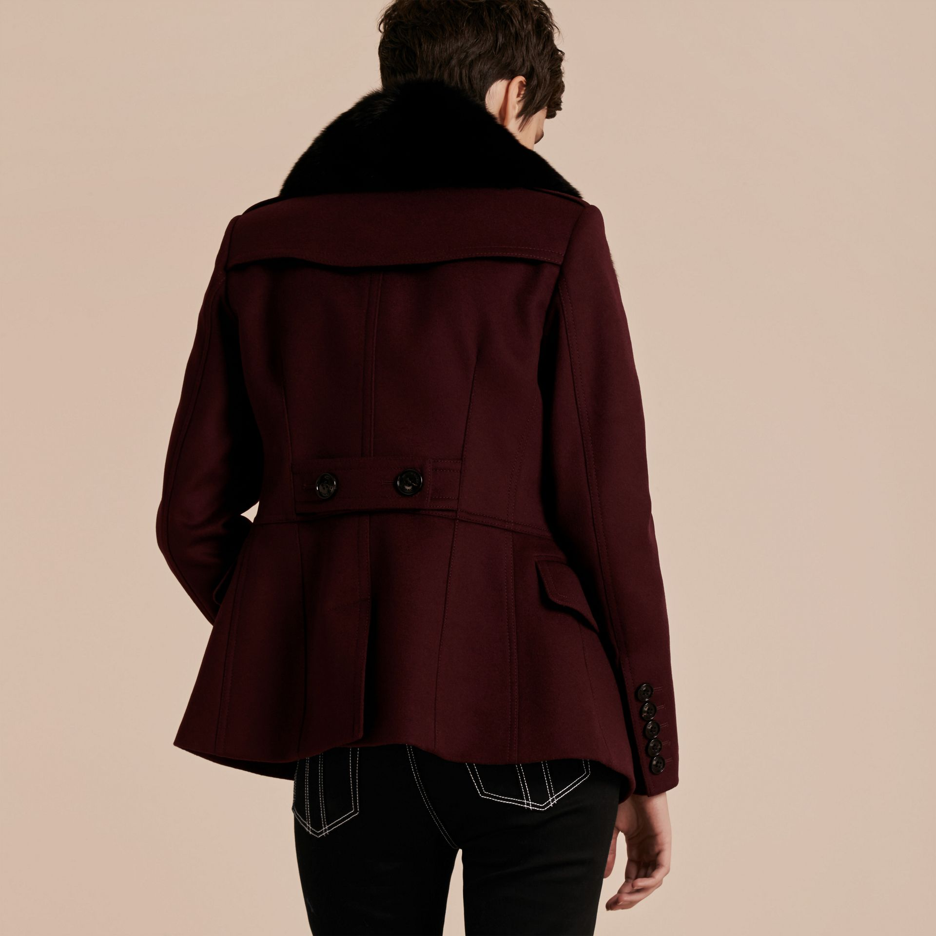 Deep claret Double-breasted Wool Cashmere Fur Collar Coat - gallery image 3