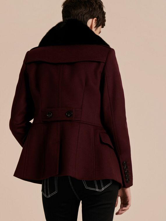Deep claret Double-breasted Wool Cashmere Fur Collar Coat - cell image 2