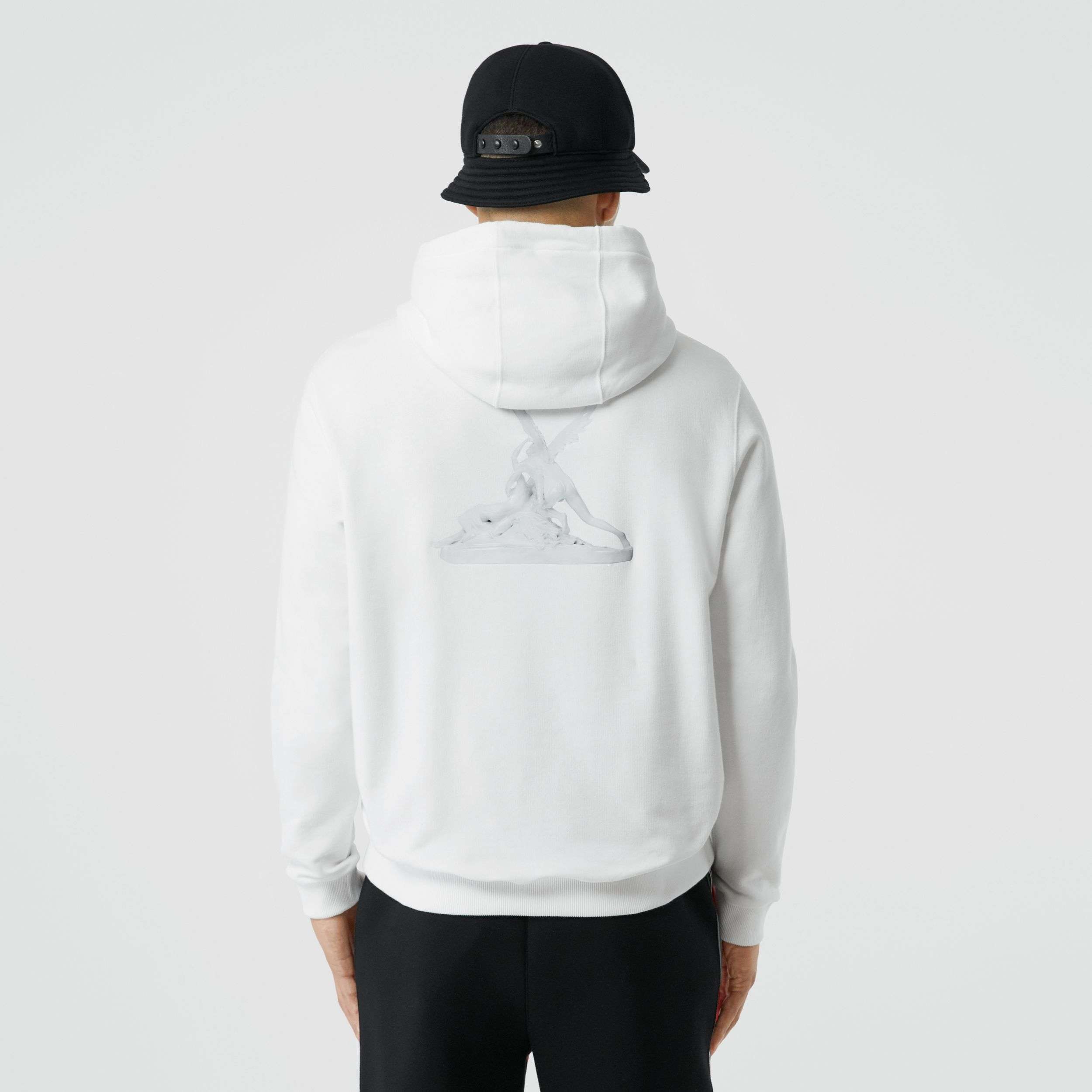 Cupid Print Cotton Oversized Hoodie in White - Men | Burberry - 3