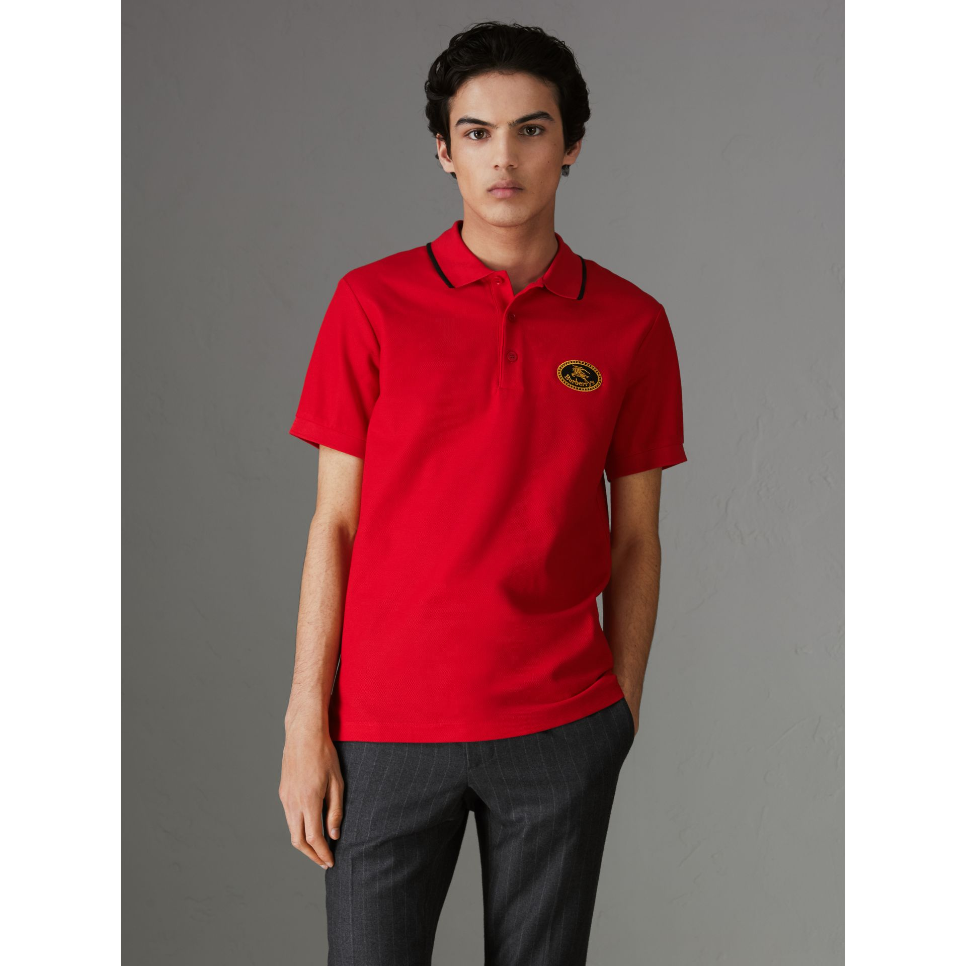 Archive Logo Cotton Piqué Polo Shirt in Military Red - Men | Burberry United Kingdom - gallery image 4