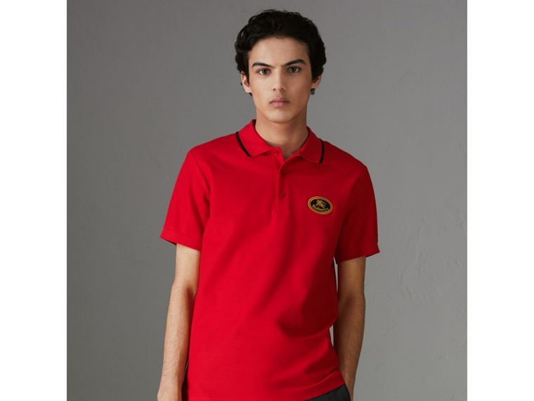 Archive Logo Cotton Piqué Polo Shirt in Military Red - Men | Burberry - cell image 4