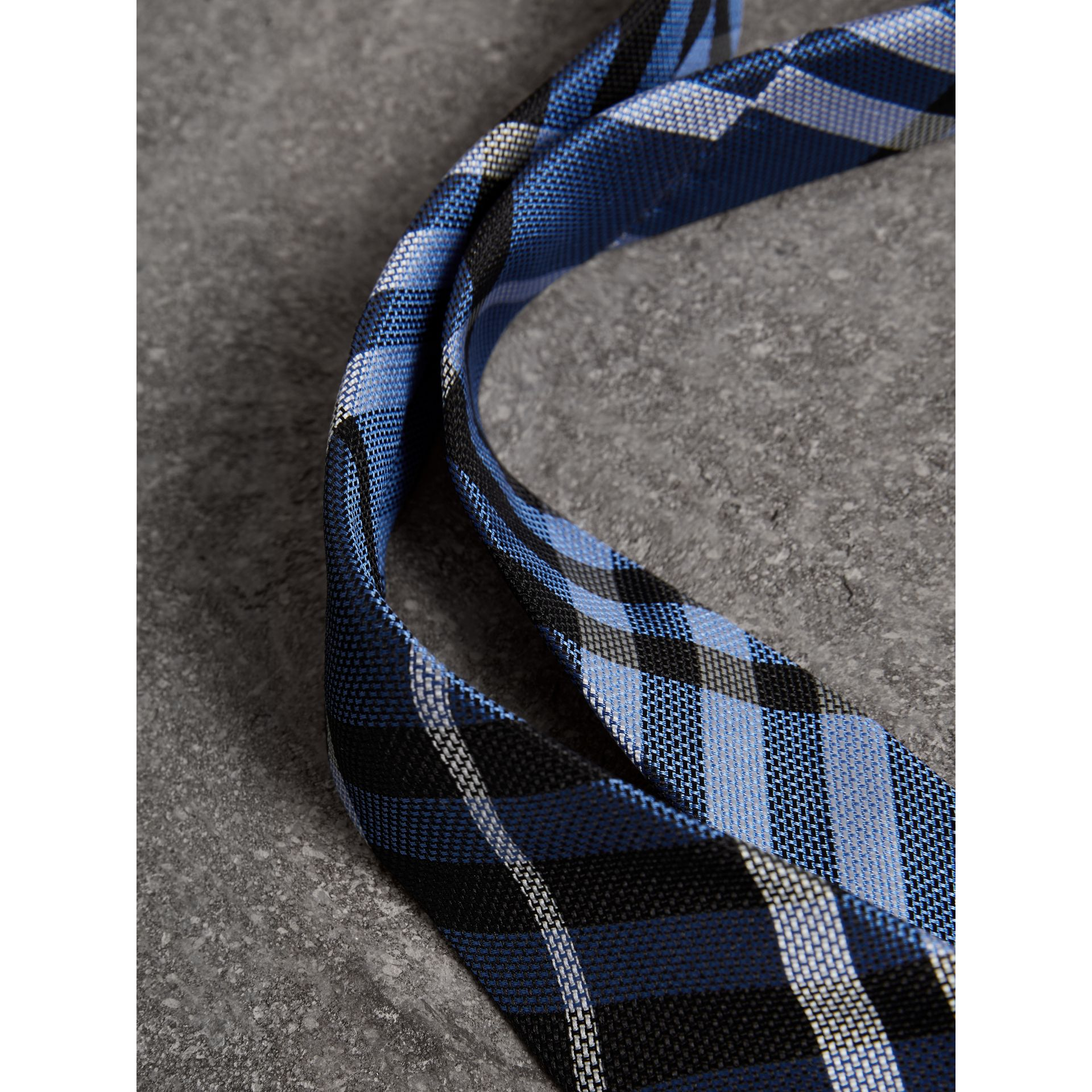 Modern Cut Check Silk Tie in Porcelain Blue - Men | Burberry United Kingdom - gallery image 1