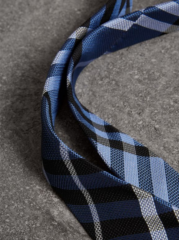 Modern Cut Check Silk Tie in Porcelain Blue - Men | Burberry - cell image 1