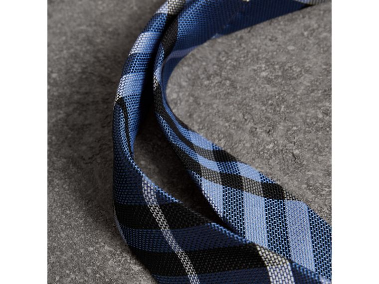 Modern Cut Check Silk Tie in Porcelain Blue - Men | Burberry United Kingdom - cell image 1