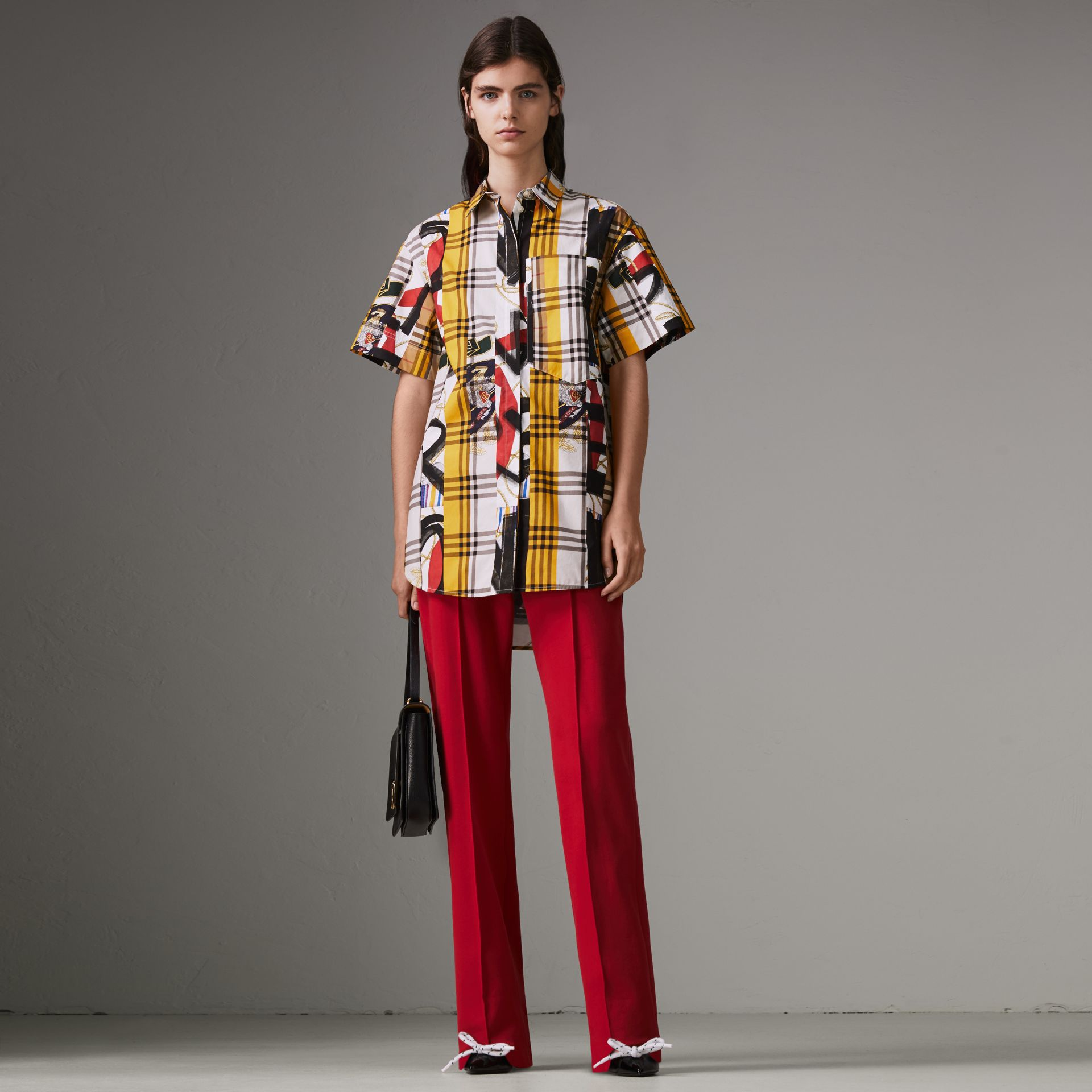Short-sleeve Archive Scarf Print Check Cotton Shirt in Multicolour - Women | Burberry United Kingdom - gallery image 0