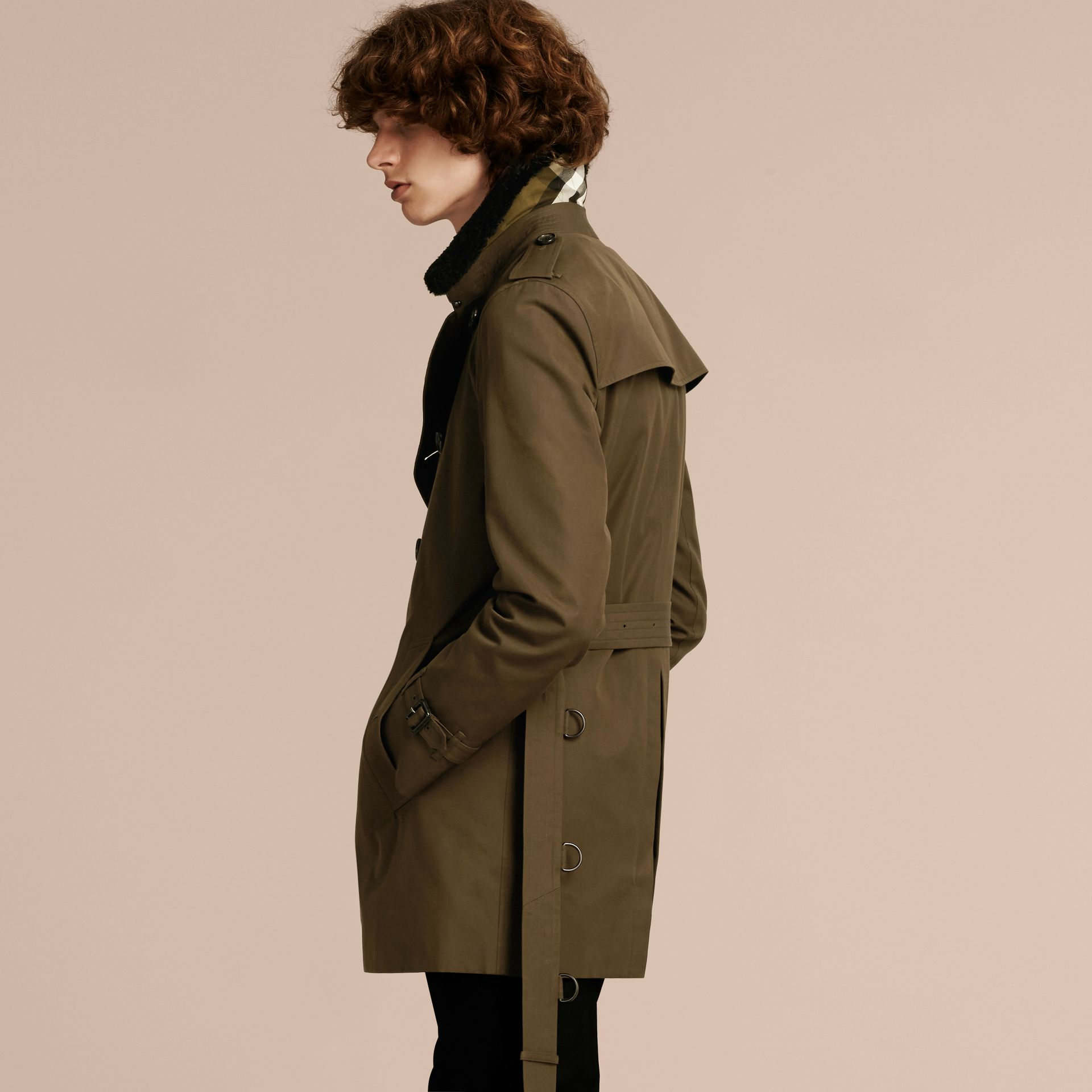 Detachable Shearling Topcollar Cotton Gabardine Trench Coat with Warmer in Olive Green - gallery image 3