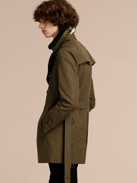 Detachable Shearling Topcollar Cotton Gabardine Trench Coat with Warmer in Olive Green - cell image 2