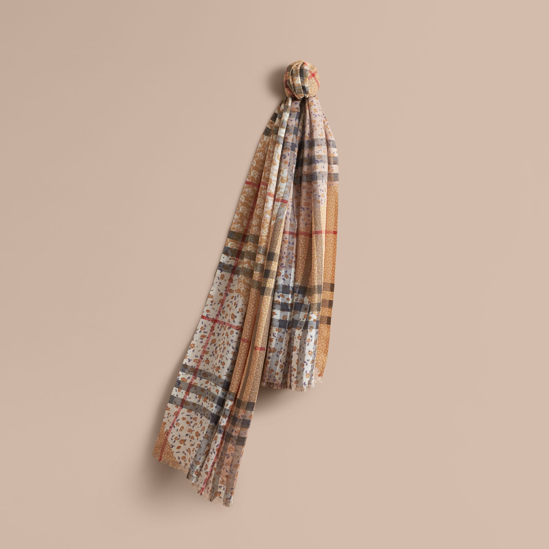 Patchwork Floral Check Wool Silk Scarf in Pale Ochre - gallery image 1