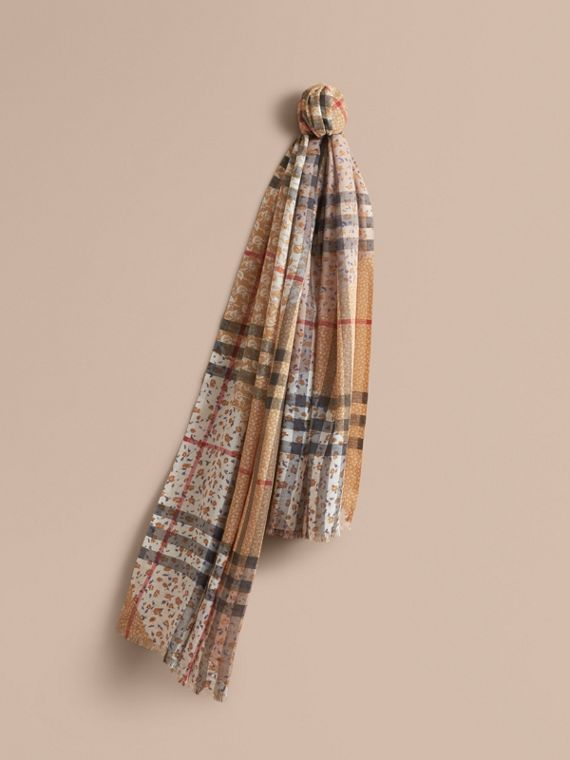 Patchwork Floral Check Wool Silk Scarf in Pale Ochre