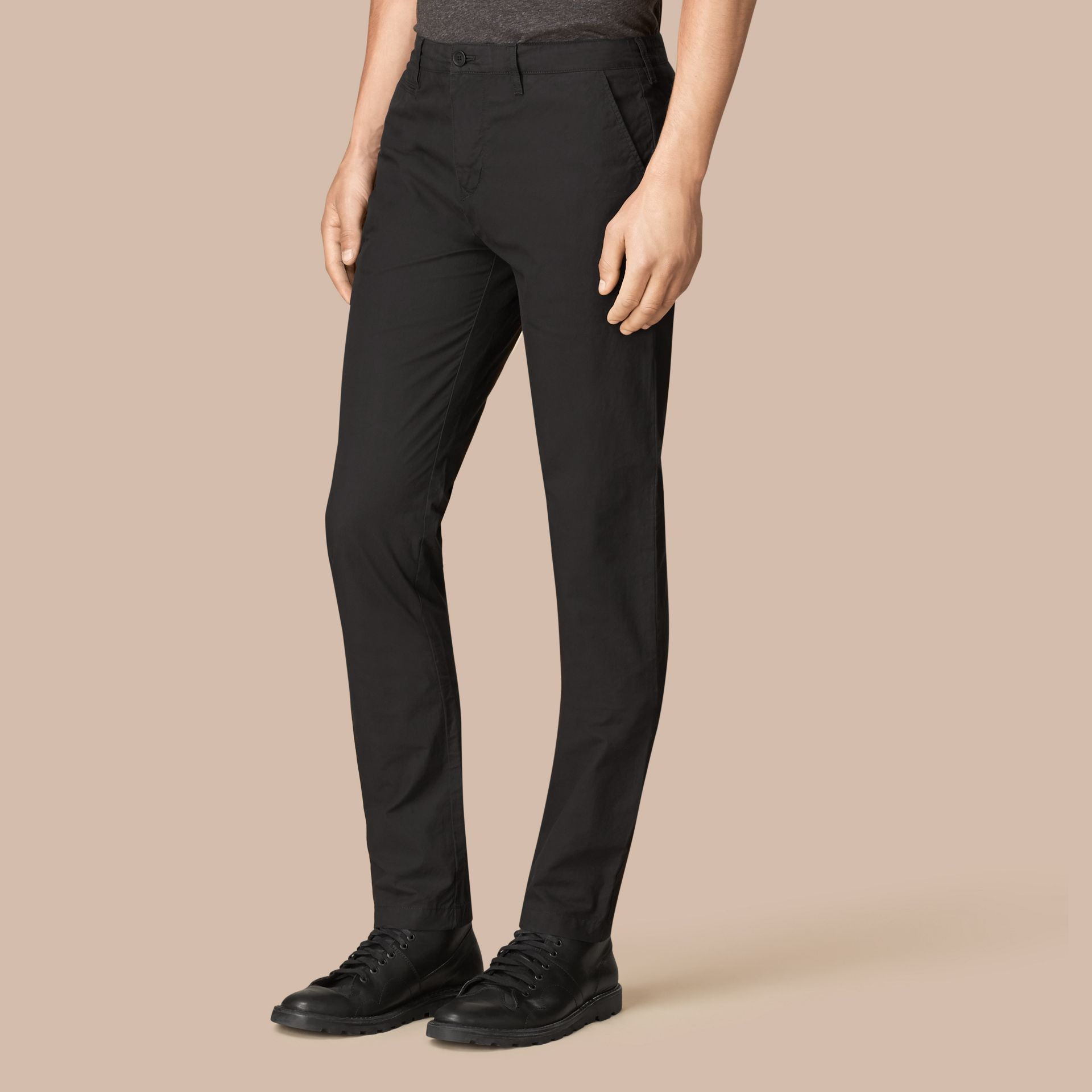 Slim Fit Cotton Poplin Chinos in Black - Men | Burberry United States - gallery image 1