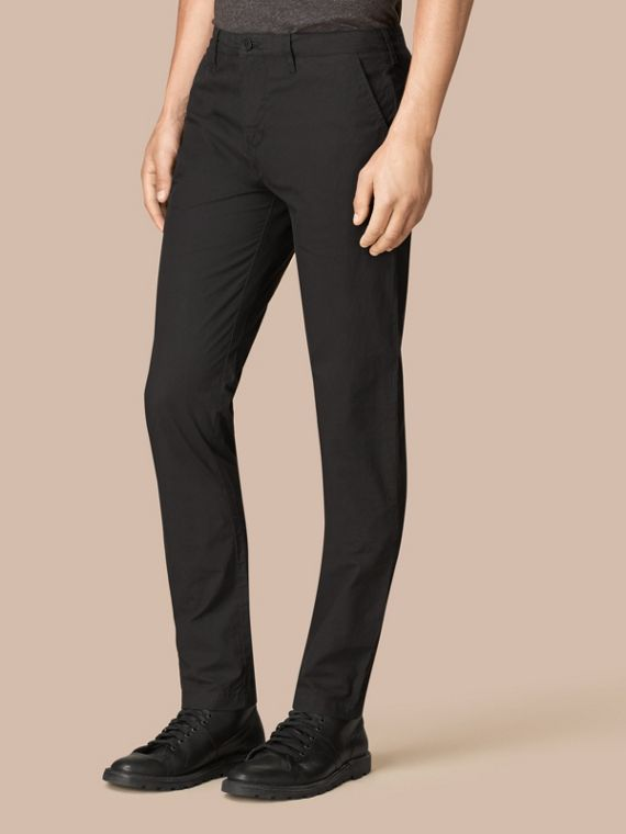 Slim Fit Cotton Poplin Chinos in Black
