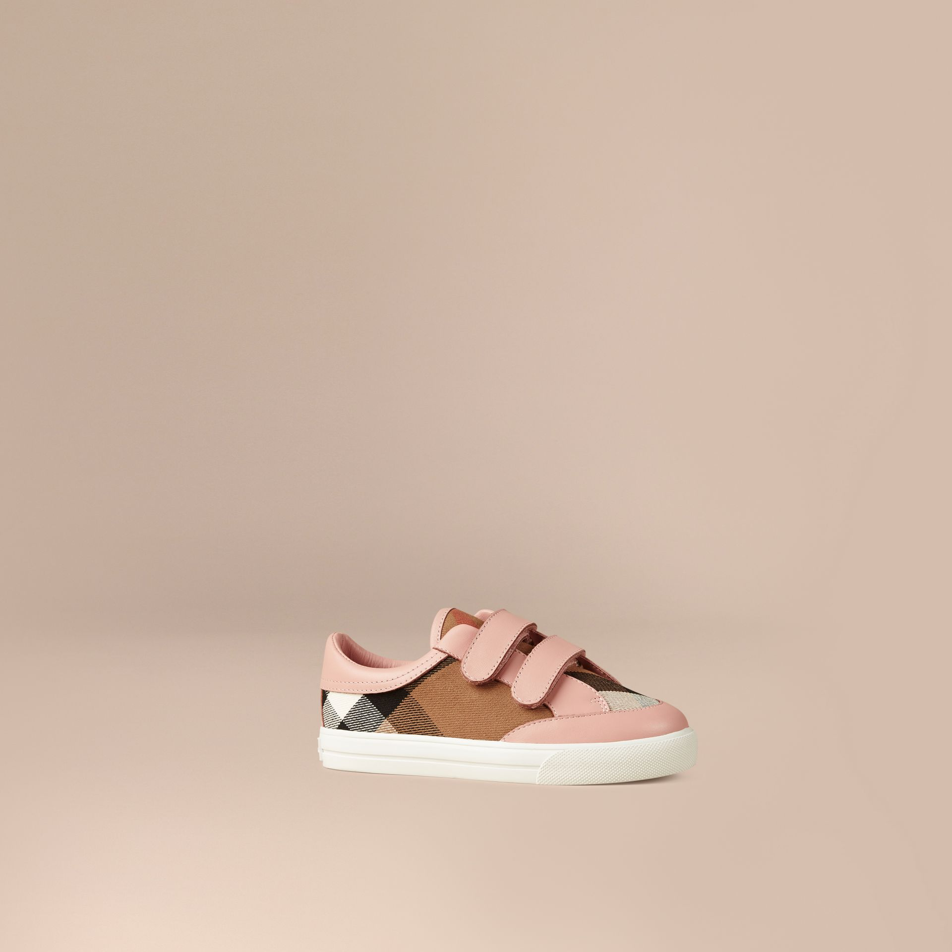 House Check and Leather Trainers in Nude Blush - Girl | Burberry - gallery image 1