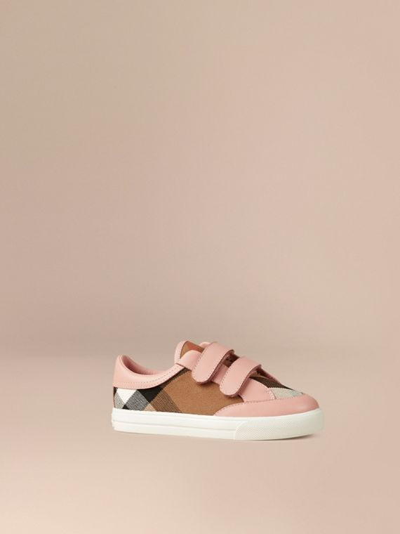 House Check and Leather Trainers in Nude Blush - Girl | Burberry
