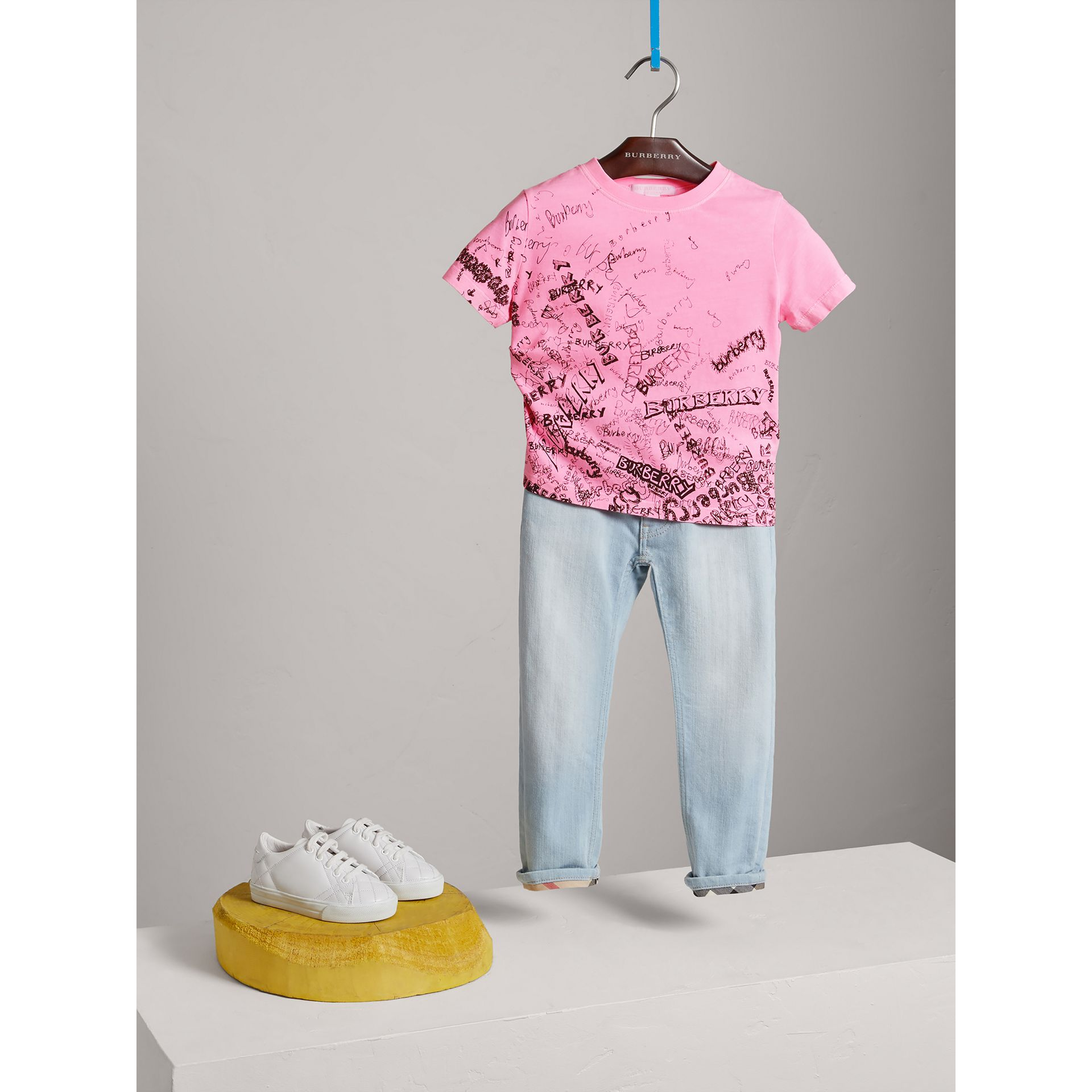 Doodle Print Cotton Jersey T-shirt in Bright Rose - Girl | Burberry - gallery image 1