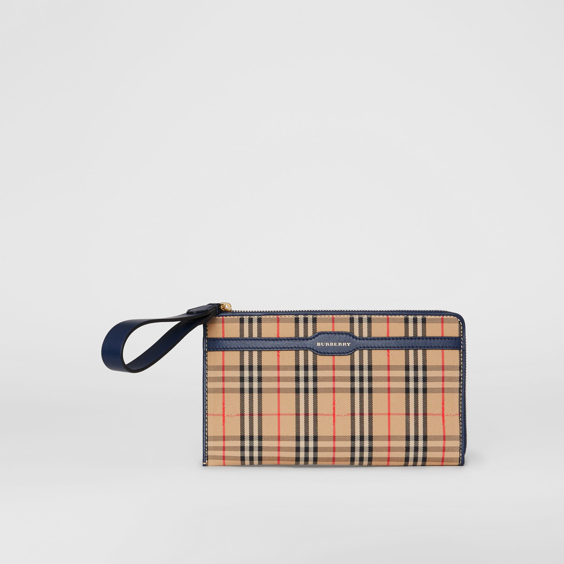 1983 Check and Leather Travel Wallet in Ink Blue - Men | Burberry - gallery image 4