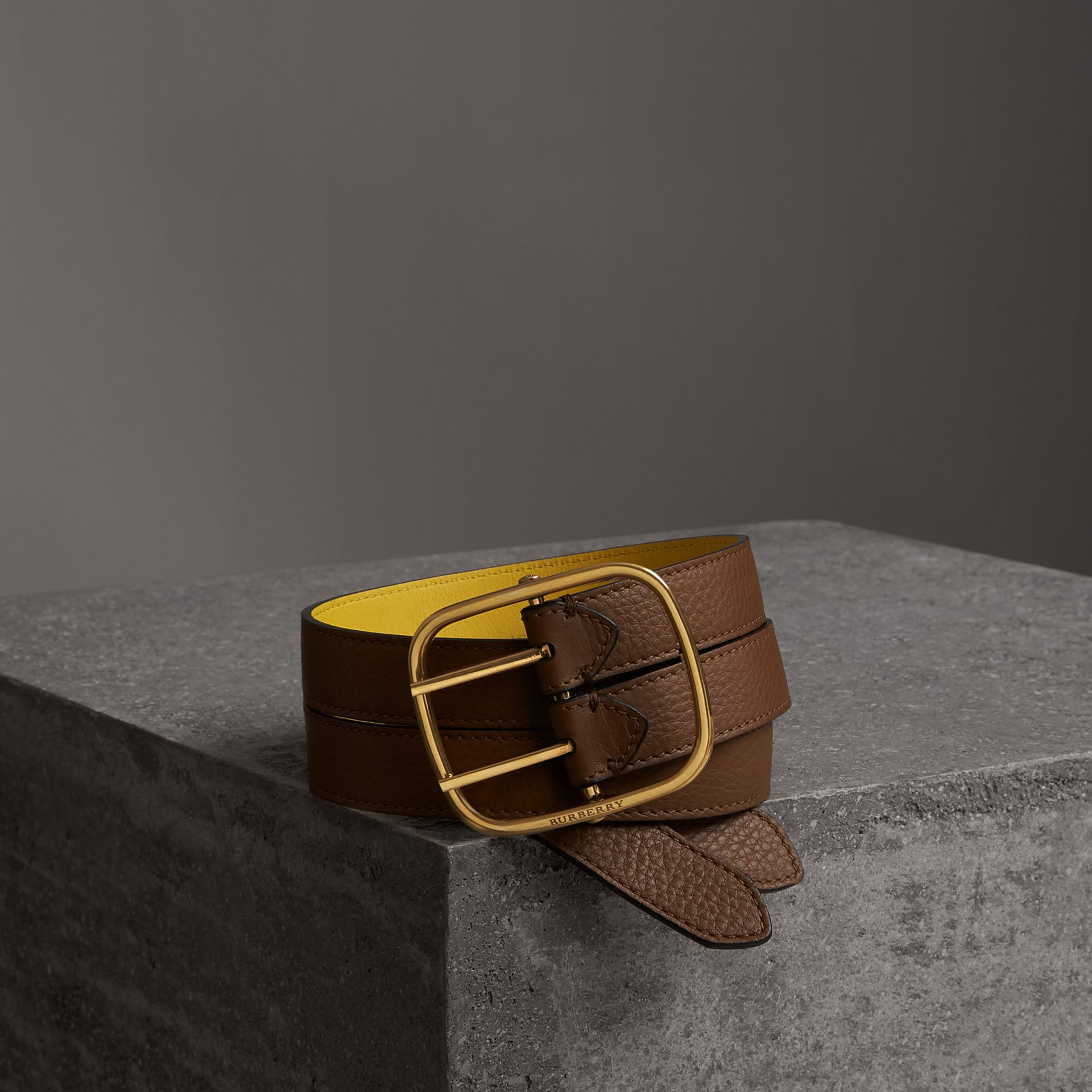 Reversible Double-strap Leather Belt in Tan/bright Larch Yellow - Women | Burberry United States - gallery image 0
