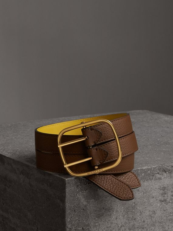 Reversible Double-strap Leather Belt in Tan/bright Larch Yellow