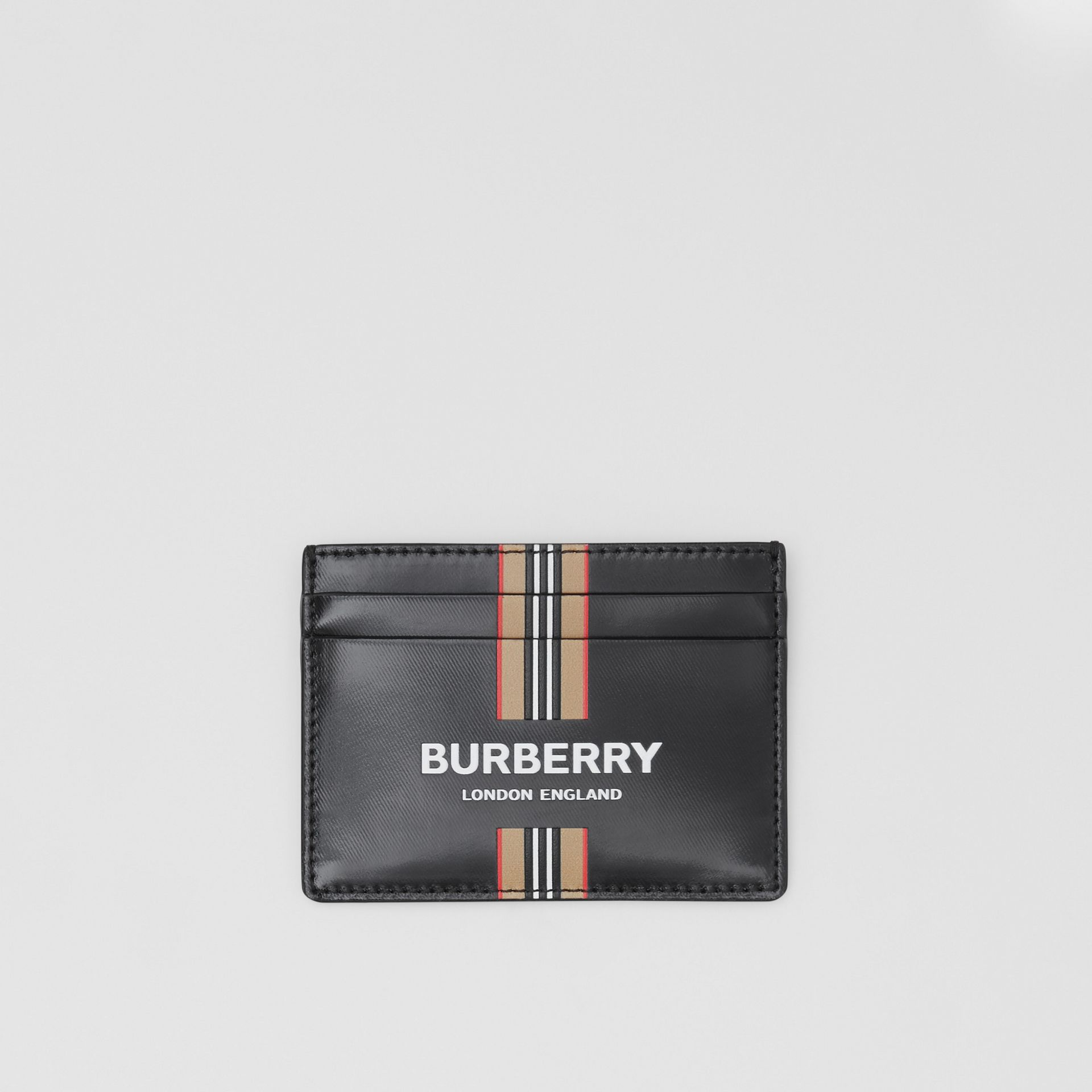 Logo and Icon Stripe Print Coated Canvas Card Case in Black | Burberry United Kingdom - gallery image 0
